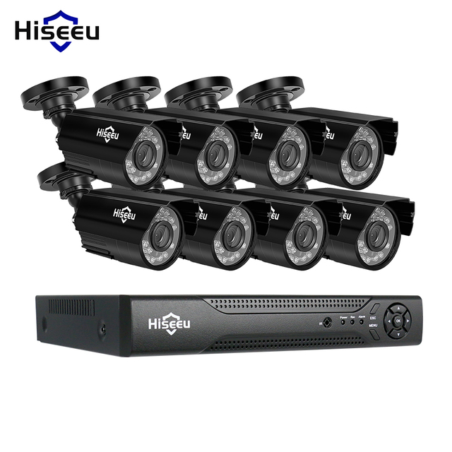 Hiseeu kit de système de vidéosurveillance 8CH AHD 1080P IR