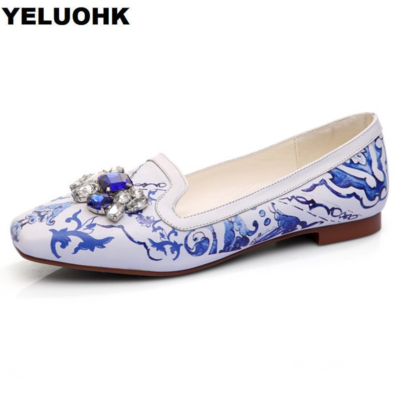 2018 New Spring Leather Shoes Women Fashion Crystal Flat Shoes Women Square Toe Ladies Shoes Ballerina High Quality new 2017 spring summer women shoes pointed toe high quality brand fashion womens flats ladies plus size 41 sweet flock t179