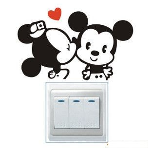 Free Shipping Mickey Mouse Minnie mouse toilet stickers diy removable vinyl art decals home decor animal vinyl wallpaper