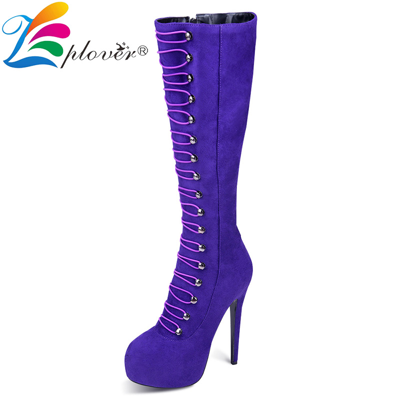 Winter Boots Women Knee High Fur Platform Boots Pumps Fashion Thin Heels Warm Winter Shoes Woman Botas Zapatos Mujer Hot mixed colors fashion women boots autumn and winter thick heels knight boots stretch knee high shoes zapatos mujer botas