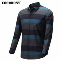 COODRONY Shirt Men 2018 Spring Summer New Arrival Casual Cotton Shirts Striped Camisa Masculina Plus Size