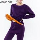 Jinsen Aite New 2XL-6XL Plus Size Winter Thick Fleece Women's Long Johns Sets Warm Femme Thermal Underwear Set Body Suits JS243