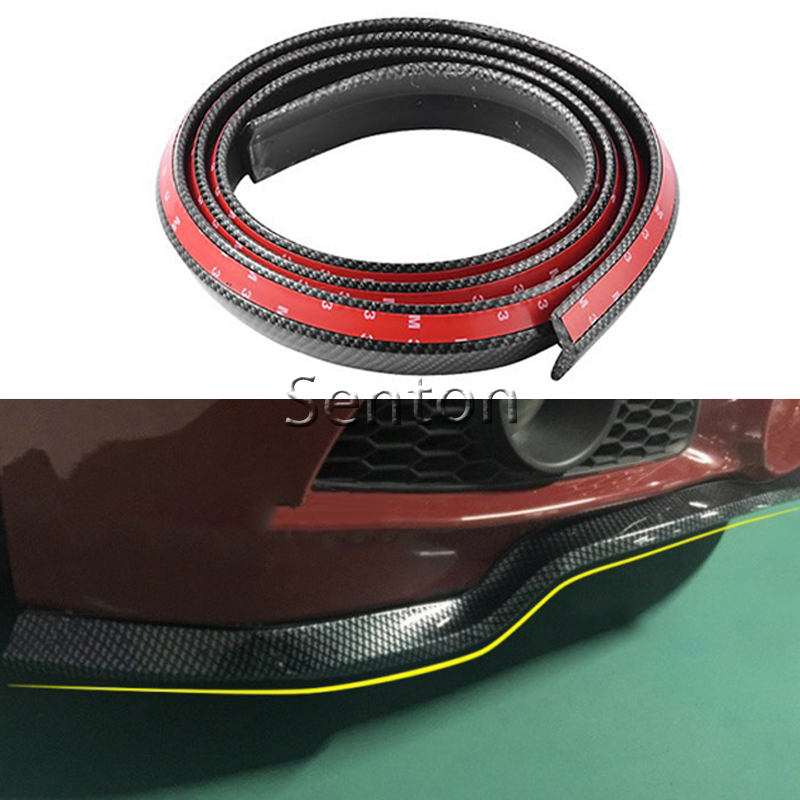 цена на Car Carbon Fiber Front lip 2.5M For Peugeot 307 206 308 407 207 2008 3008 508 406 208 For Citroen C4 C5 C3 C2 Accessories