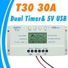 Солнечный контроллер заряда 30A MPPT ШИМ напряжение настраиваемый ЖК-дисплей светильник и двойной таймер управления 30A 12 В 24 в авто работа