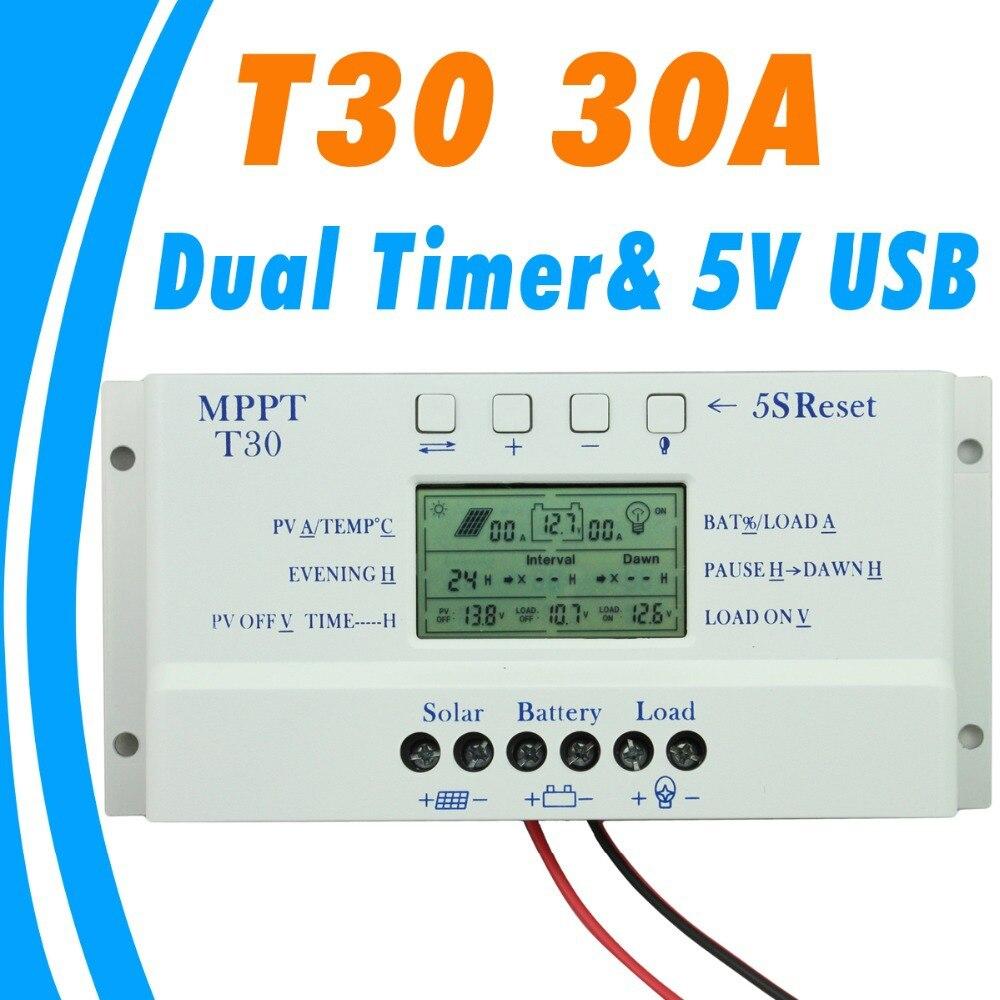 2019 nuevo controlador de carga Solar 30A MPPT PWM voltaje ajustable LCD dispaly luz y control de temporizador dual 30A 12 v trabajo automático de 24 v
