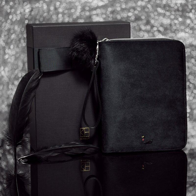 2018 Luxury Kinbor A6 Black Swan Travels Journal Gift Box Diary Book Black Velvet Planner Zipper Notebook Creative Stationery gant часы gant w10841 коллекция park hill ii