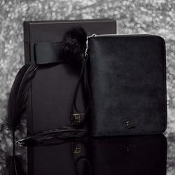 2018 di Lusso Kinbor A6 Cigno Nero Viaggi Contenitore di Regalo Ufficiale Libro del Diario di Velluto Nero Planner Notebook Cerniera Cancelleria Creativa