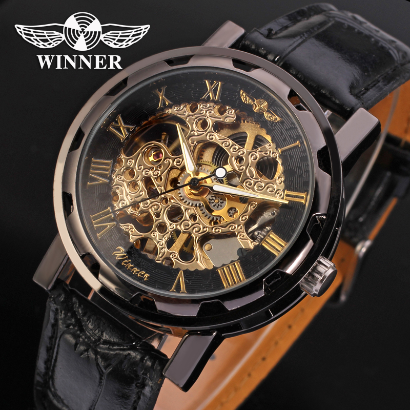 Fashion WINNER Men Luxury Brand Roman Number Hand-wind Leather Watch Automatic Mechanical Wristwatches Gift Box Relogio Releges winner brand men luxury see through skeleton stainless steel watch mechanical hand wind wristwatches gift box relogio releges