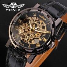 Homens VENCEDOR moda Luxo Marca Número Roman Couro Mão-vento Relógio Mecânico Automático relógios de Pulso Caixa de Presente Relogio Releges