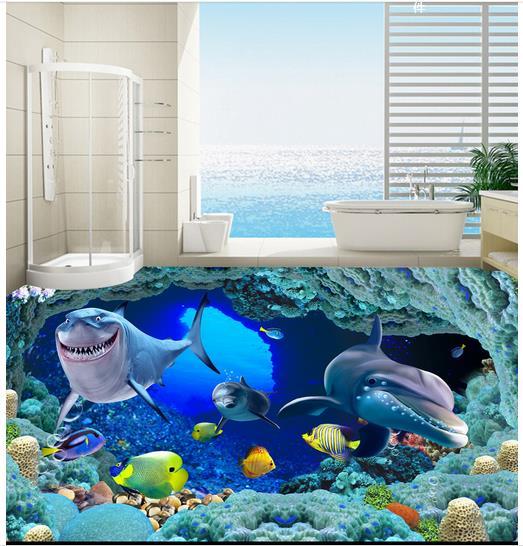 ФОТО 3d wallpaper custom 3d flooring painting wallpaper room murals 3d underwater world stereograph floor tile wall 3d photo wallpaer