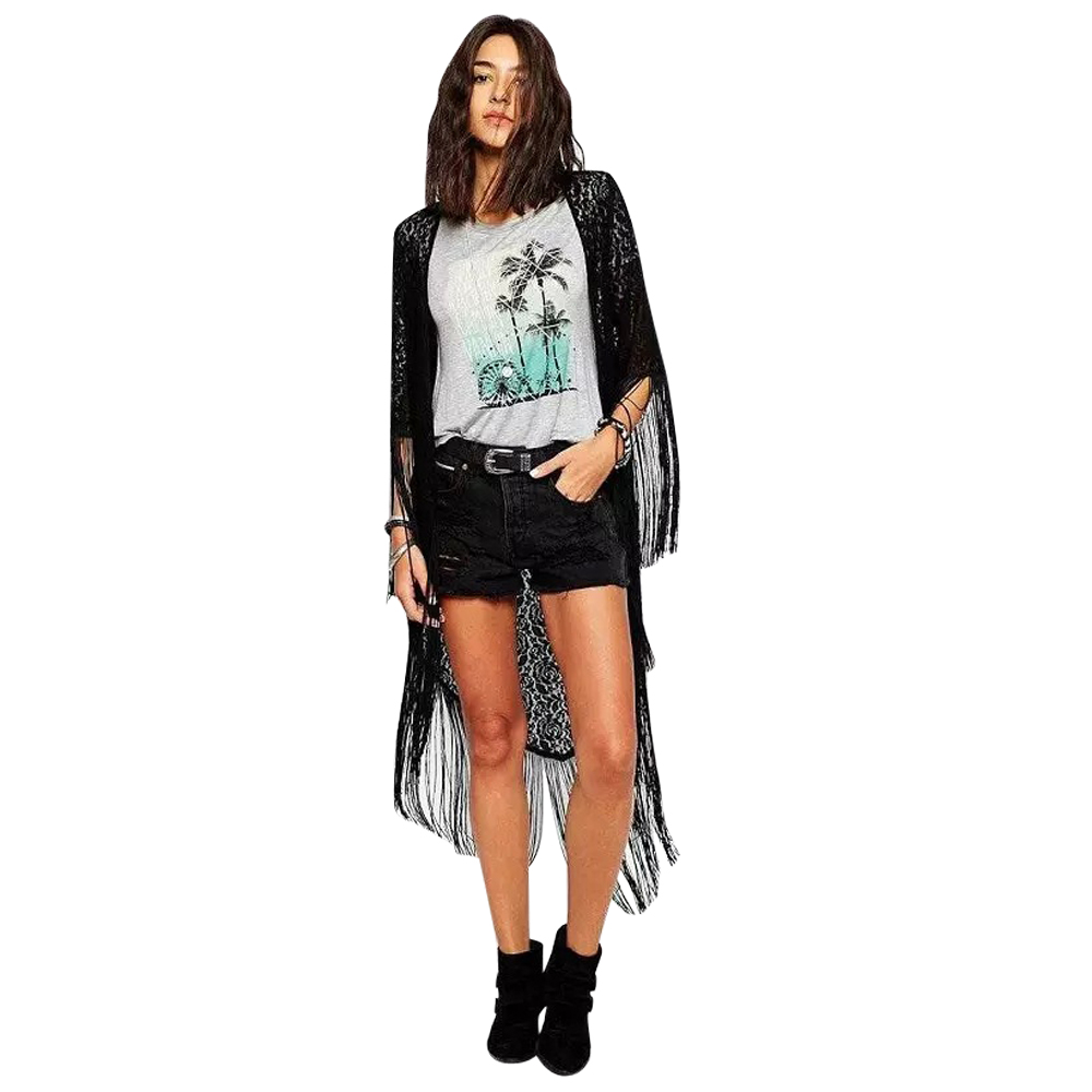 Women Blouse Long Black Beach Kimonos Ladies Maxi Cardigan Kimono ...