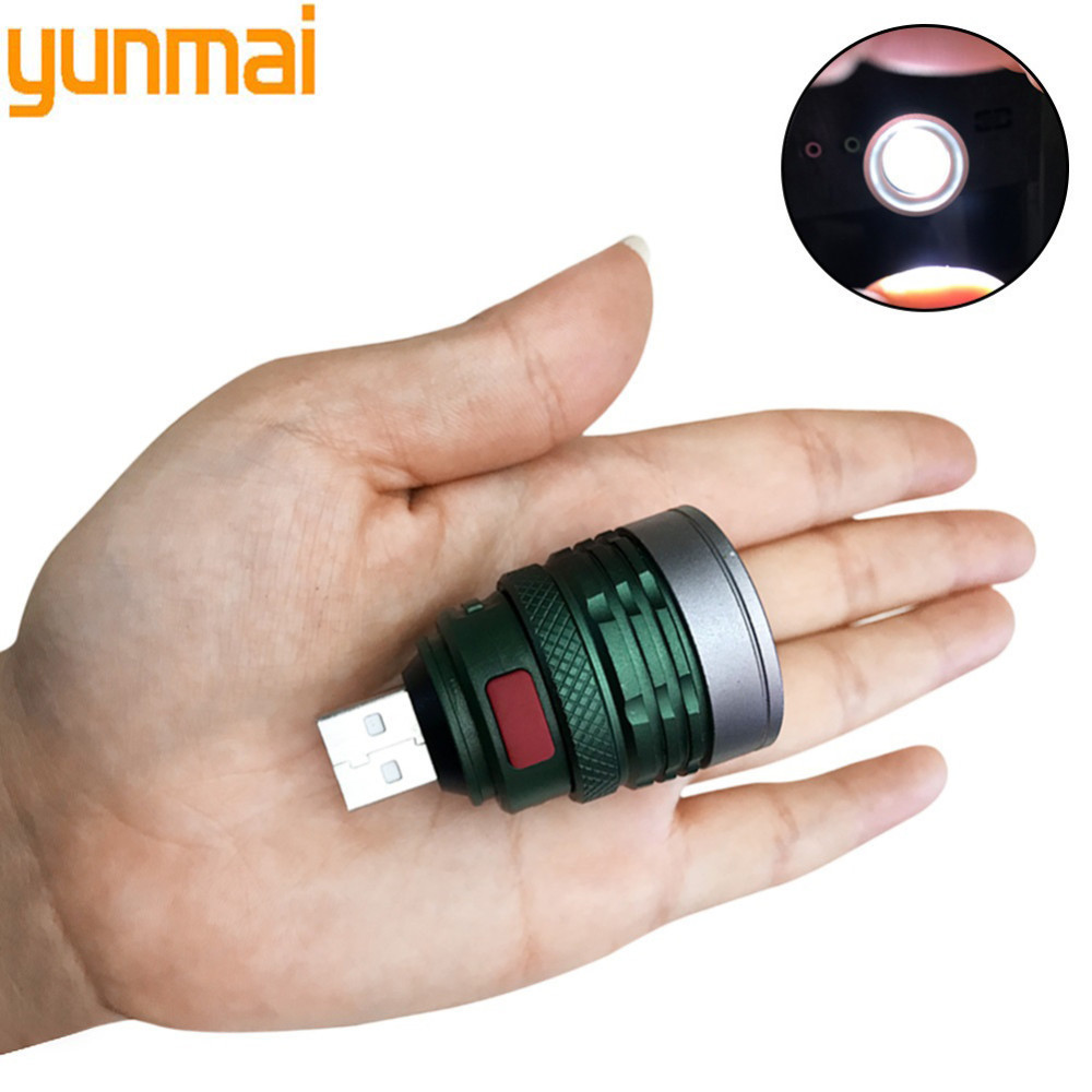 Yunmai New Mini Usb Led Zoomable Flashlight Q5 Aluminum Work Light Waterproof 3 Modes Portable Lantern Torch Emergency Light