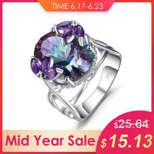 12ct Natural Amethyst Rainbow Fire Mystic Topaz Solid 925 Sterling Silver Ring Cocktail Vintage Jewelry Promotion Brand New(China)