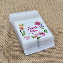 50Pcs 7cm&10cm Thank You Flower Pattern Plastic Bags Candy Cookie Gift Bag DIY Self Adhesive Pouch For Wedding Birthday Party