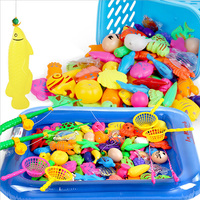 25pcs Set Magnetic Fishing Toy Game 1 Rod 1 Net 12 3D Fish Baby Kids Bath
