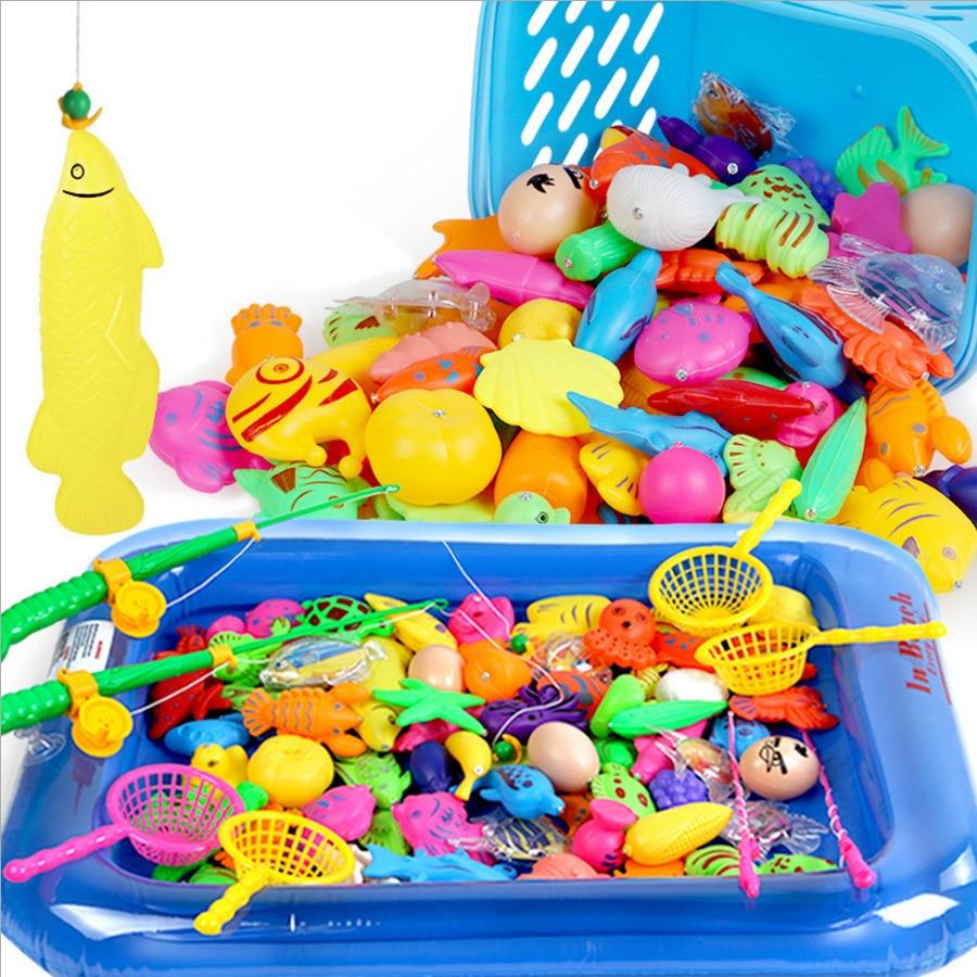 25pcs/Set Magnetic Fishing Toy Game 1 Rod 1 net 12 3D Fish Baby Kids ...