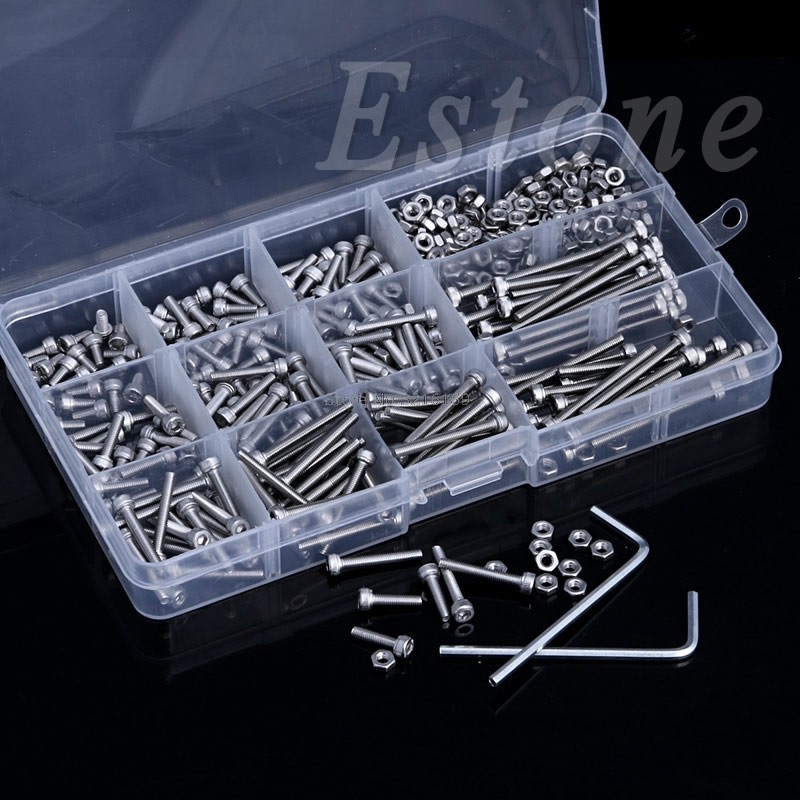For 440Pcs M3 A2 Stainless Hex Head Socket Cap Screws Nuts Assortment Kit with Box Promotion 340pcs stainless steel m3 a2 hex screw kit assortment nuts bolt cap socket set 125x65x22mm with case