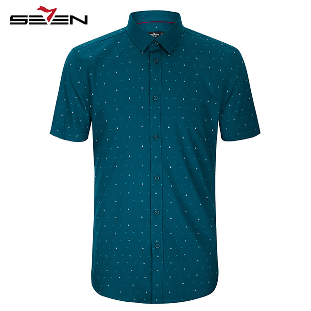 Seven7 Men Short Sleeve Trendy Button Down Shirts Polka Dots Casual Shirts Summer Fashion Slim Fit Print Shirts 112A30190