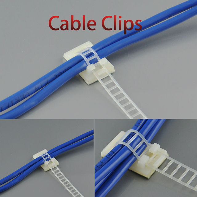 100pcs Cable Clips 22*32 Clamp For Wire Tie Cable Mount Adjustable ...