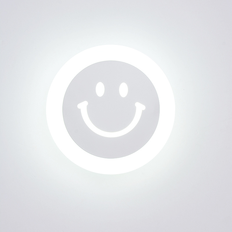 Creative LED Smile Face Wandlamp Simple Kids Cartoon Bed Room Light - Binnenverlichting - Foto 3