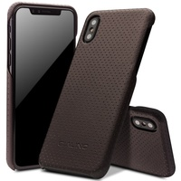 QIALINO for iPhone X (Ten) 5.8 inch Case Mesh Holes Genuine Leather Coated PC Mobile Phone Back Cover Shell for iPhone X Brown