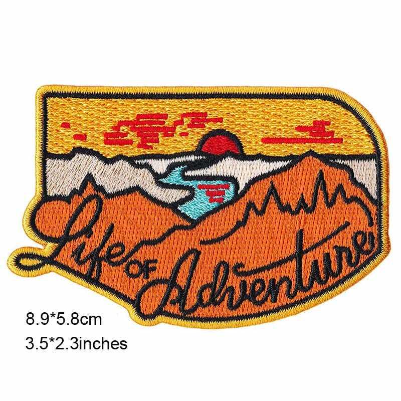 Perjalanan Bus Outdoor Hiking Tema Besi Di Bordir Pakaian Patch untuk Pakaian Stiker Pakaian Grosir