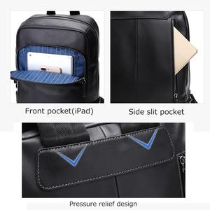 Image 5 - BISON DENIM Genuine Leather Men Backpacks Male Zipper Designer 15 inches School Backpack Mens Travel Cowhide Backpack N2757
