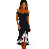 Vestido Party Dresses For Women Sexy Summer Off Shoulder Black Crochet Bardot Vintage Slim Bodycon Midi