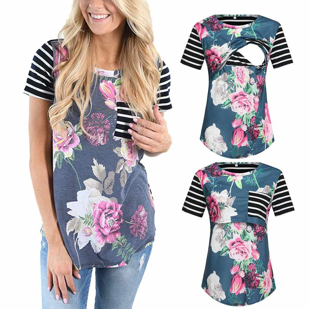 Women's Maternity Cloth Short Sleeve Stripe Floral Breastfeeding Pregnant T-shirt Nursing Top ropa mujer Maternity Clothing C613