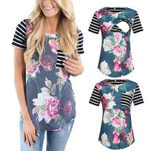 Women's Maternity Cloth Short Sleeve Stripe Floral Breastfeeding Pregnant T-shirt Nursing Top ropa mujer Maternity Clothing C613(China)