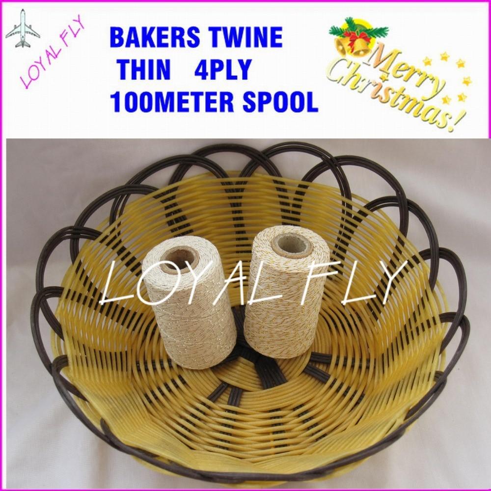 50ks / lot bavlna pekaři motouzy 4ply tenké, 100m / cívka zlatá / - Pro svátky a večírky