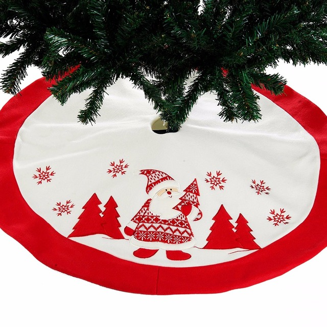 Red White 2017 Embroidery Christmas Tree Skirt 35 Inch Round Flannelette Santa Claus Snowflake Trees Carpet