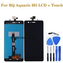 100% חדש שחור/לבן lcd עבור BQ Aquaris M5 LCD תצוגה + מגע מסך דיגיטלי ממיר החלפת m5 תיקון חלקי
