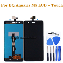 100%  new black/White lcd for BQ Aquaris M5 LCD display + touch screen digital converter replacement m5  repair parts bq bq gummy m5 5 для aquaris m5 5 чехол бампер полиуретан голубой