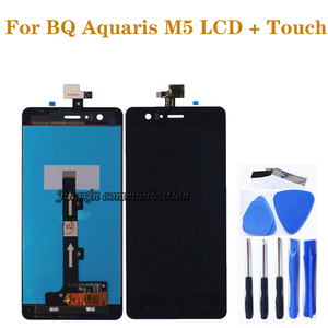 Image 1 - 100% nowy czarny/biały wyświetlacz lcd dla BQ Aquaris M5 wyświetlacz LCD + ekran dotykowy cyfrowy konwerter w celu uzyskania m5 do naprawy części