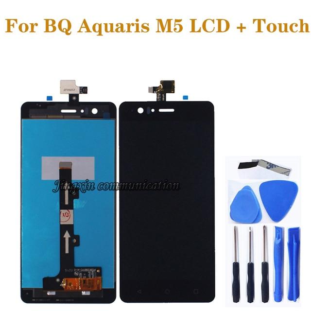 100% nowy czarny/biały wyświetlacz lcd dla BQ Aquaris M5 wyświetlacz LCD + ekran dotykowy cyfrowy konwerter w celu uzyskania m5 do naprawy części