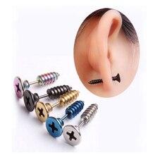 Punk Style Stainless Steel 5 Colors Stud Earrings Men Women Ear Jewelry Rock Gothic Unisex Piercing