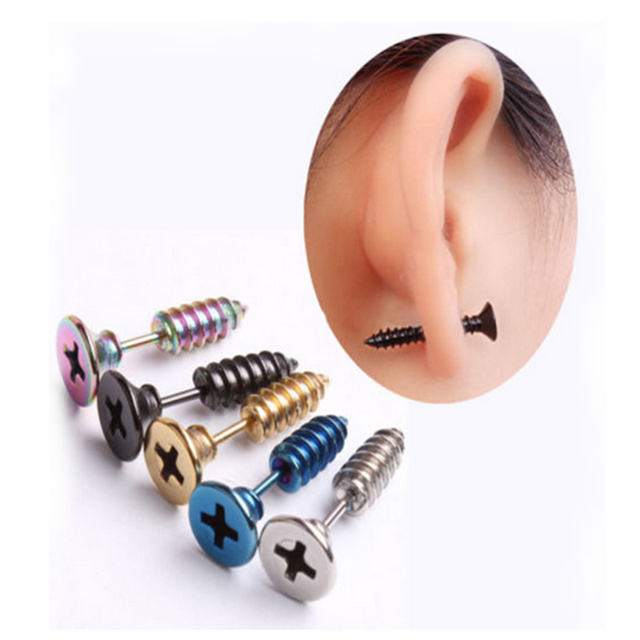 Punk Style Stainless Steel 5 Colors Stud Earrings Men's Punk Ear Jewelry Rock Gothic Unisex Piercing Earring Free shipping