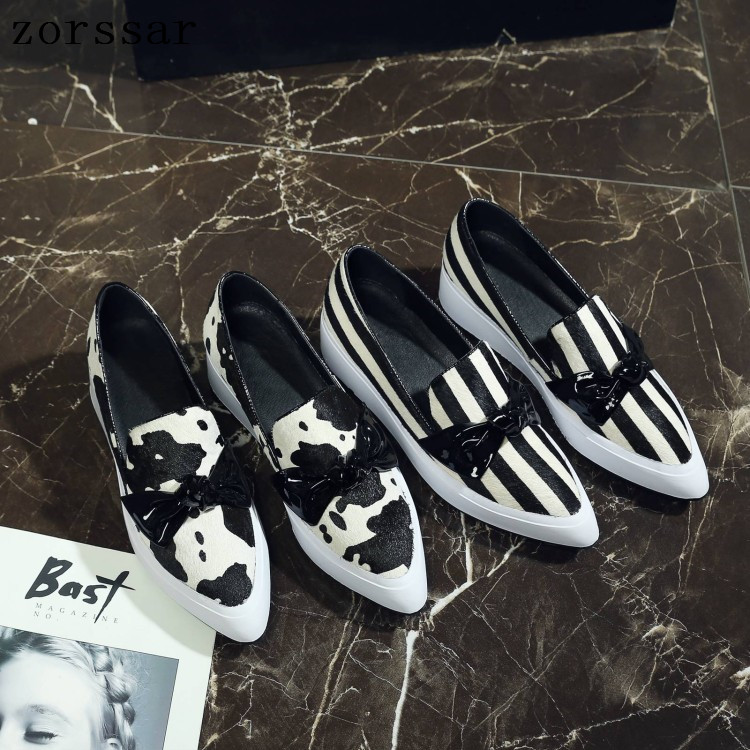 Zorssar Horsehair Summer Loafers Women Flats Shoes