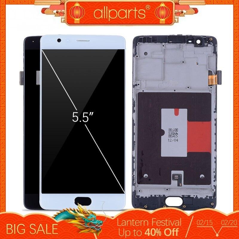 5.5'' Оригинальный тачскрин дисплей экран для OnePlus 3T сенсорный дисплей Оригинал LCD с тачскрином в рамке замена запчасти для OnePlus3T Черный