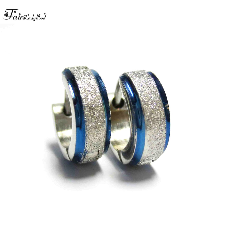 FairLadyHood 4 x 10 mm Blue Color Cute Hoop Earrings for Men Punk Stainless Steel Huggie Small Earrings