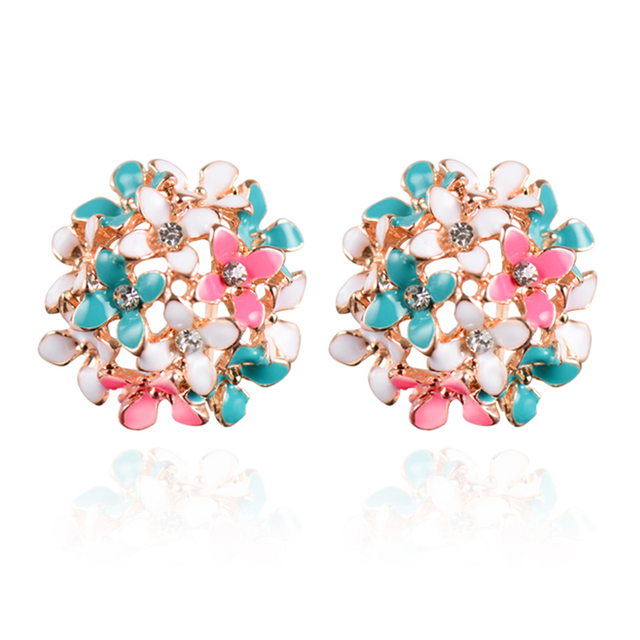 Stud Earrings for Women Female 2017 Boucle d'oreille Crystal Flower Clover Earring Gold Bijoux Jewelry Brincos Mujer 3