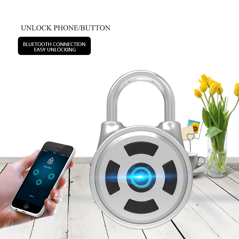 Small smart security password padlock Mobile APP unlock Cabinet luggage lock Home security Bluetooth lockBD-M1 indoor outdoor portable smart padlock without key or password quickly 1 second unlock as travel backpack lock luggage lock