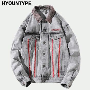 Hi-Street Men 2018 New Autumn Winter denim jacket washed patchwork Red stripe Distressed Denim Man Slim Fit Streetwear jeans ja
