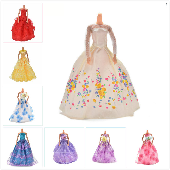 Wedding Dress For Barbie Doll Luxury Floral Dolls Accessories  Doll Dress For Barbie Clothes Clothing Elegant  Lace Multi Layers
