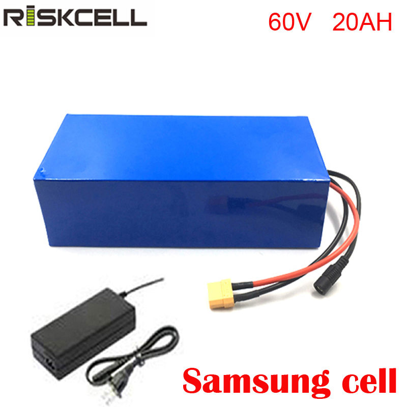 Deep cycle battery 60v 20ah scooter battery 18650 lithium ion battery with BMS protection and charger For Samsung cell