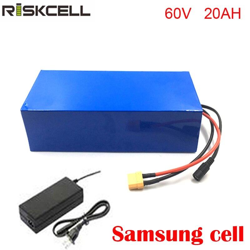 Profonda del ciclo della batteria 60 v 20ah scooter protezione della batteria 18650 batteria agli ioni di litio con BMS e caricabatterie Per Samsung cellulare