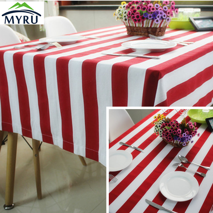 American Pastoral red and white striped table cloth thickened canvas table cloth Mediterranean blue and white