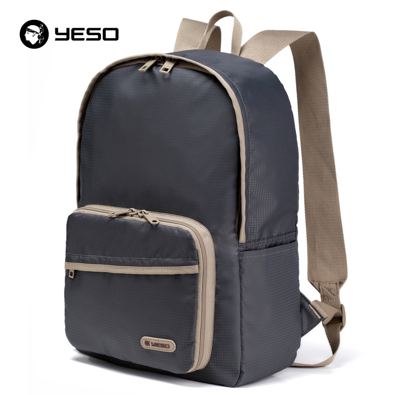 YESO Fashion Casual Folding Backpack Men Waterproof Portable Nylon Backpack Women Lightweight Blue Backpacks Bags For Teenager