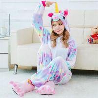 Harajuku Kids Adults Animal Kigurumi Pajamas Sets Winter Warm Rainbow Unicorn Flannel Cosplay Sleepwear Costumes Unisex